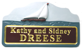 House Name Sign Carved with Sail Boat